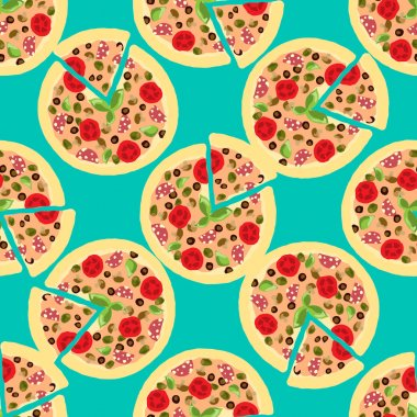 Illustration background with pizzas. Seamless pattern.