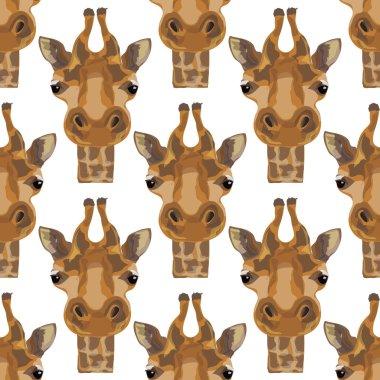 Illustration of a giraffe. The head of the giraffes. Safari and wild animals. Wild unspoiled nature. Seamless pattern.