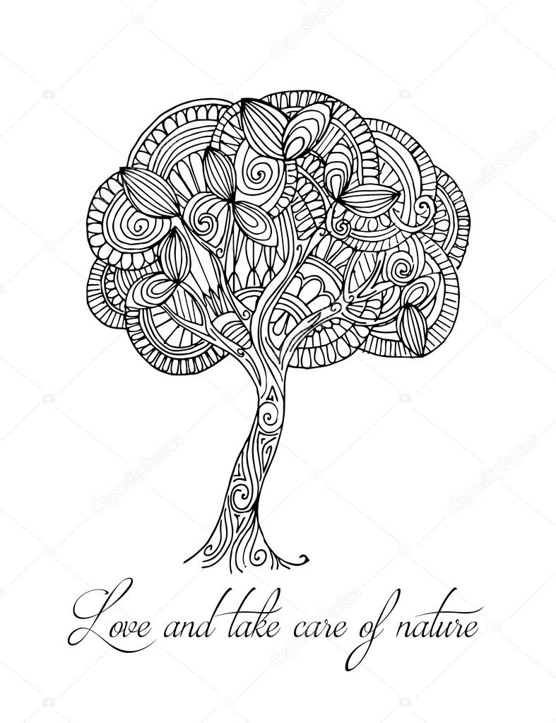 Hand-drawn illustrations. Abstract black and white tree. Postcard love and take care  of nature.