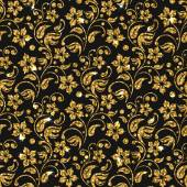 Vector seamless damask pattern with flowers. Golden glitter pattern design. Gold floral background.