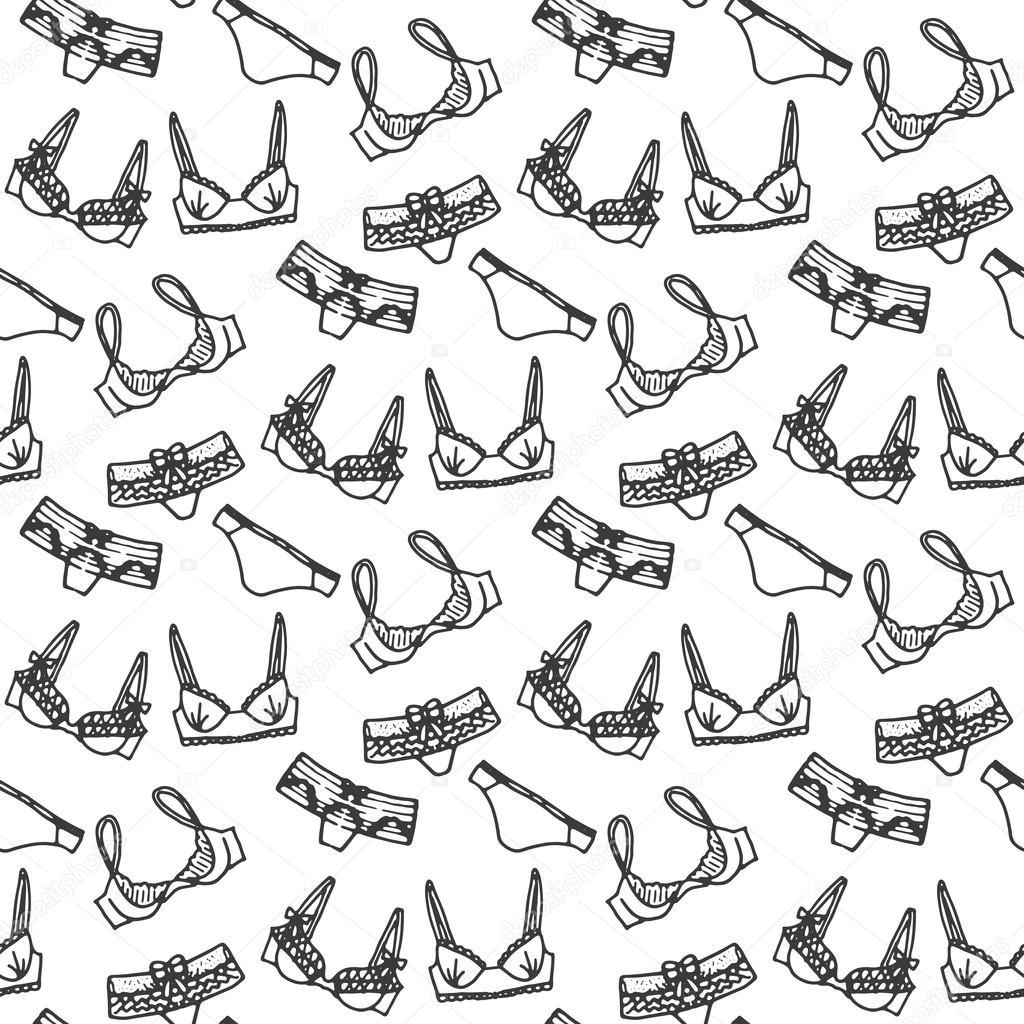 6ca7eb24f8 Diseño de fondo de la ropa interior de vector. Esquema ilustración dibujado  a mano. Doodle de sujetadores y bragas. Papel pintado femenino de moda —  Vector ...