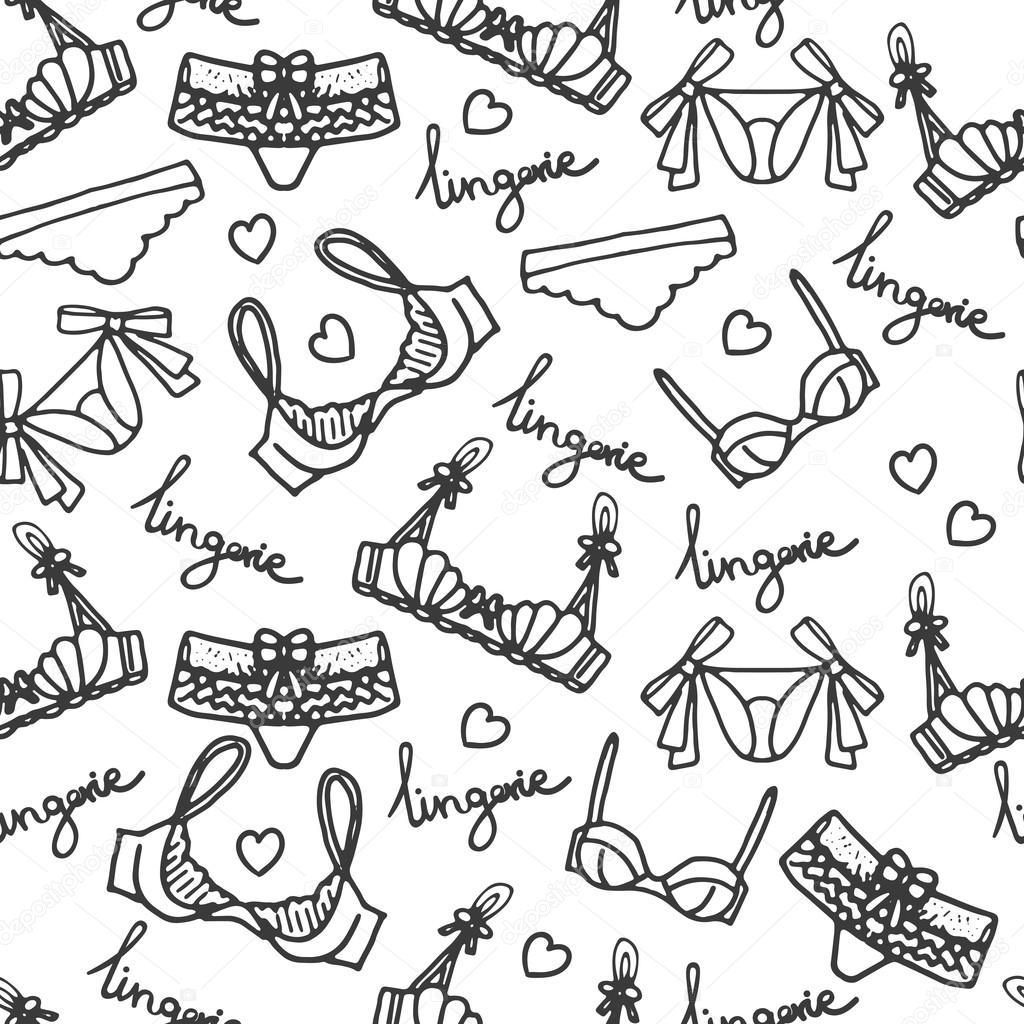 5383d1cac9 Diseño de fondo de la ropa interior de vector. Esquema ilustración dibujado  a mano. Doodle de sujetadores y bragas. Papel pintado femenino de moda —  Vector ...
