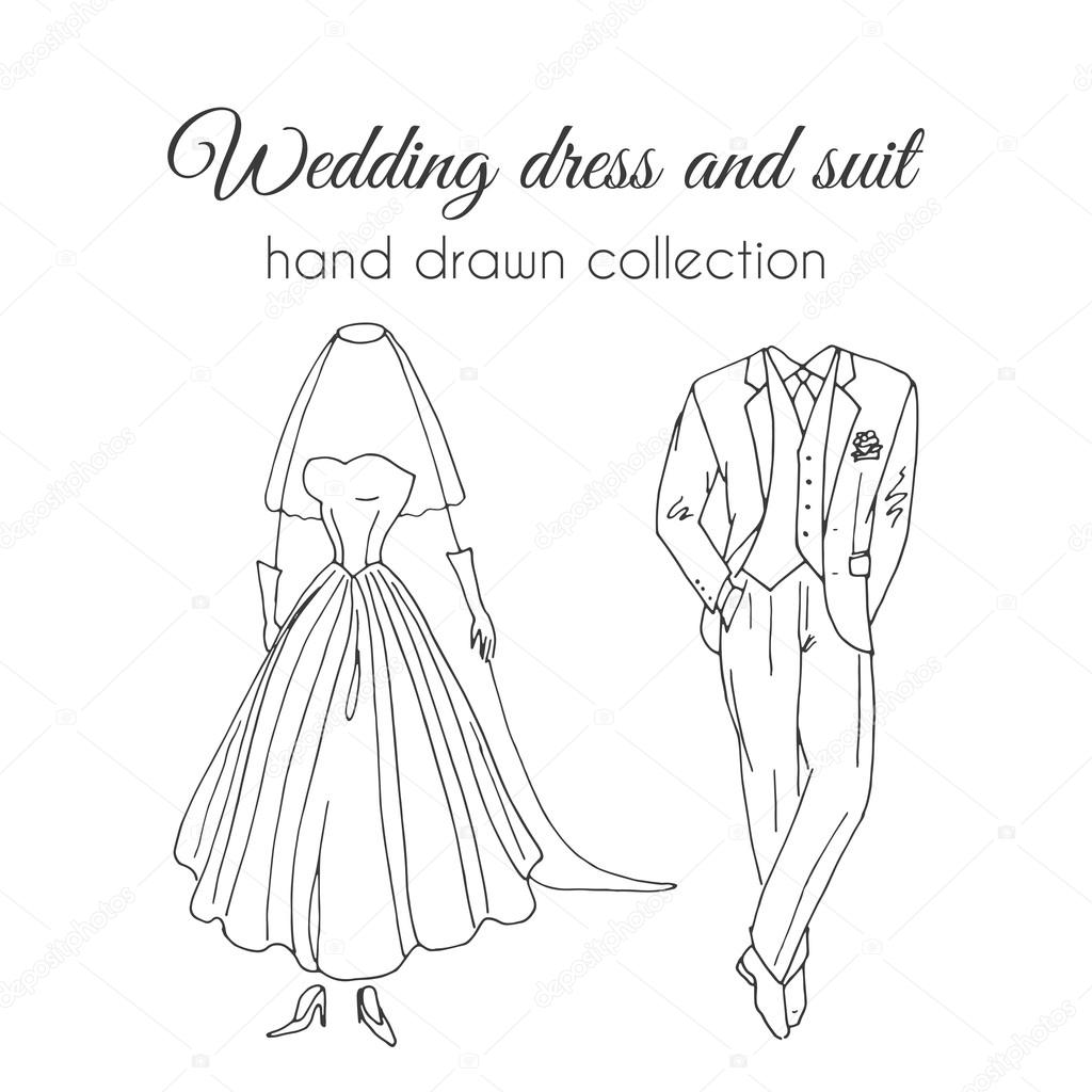 Wedding dress and suit illustration. Sketchy style. Hand drawn bride and groom ceremony wear design