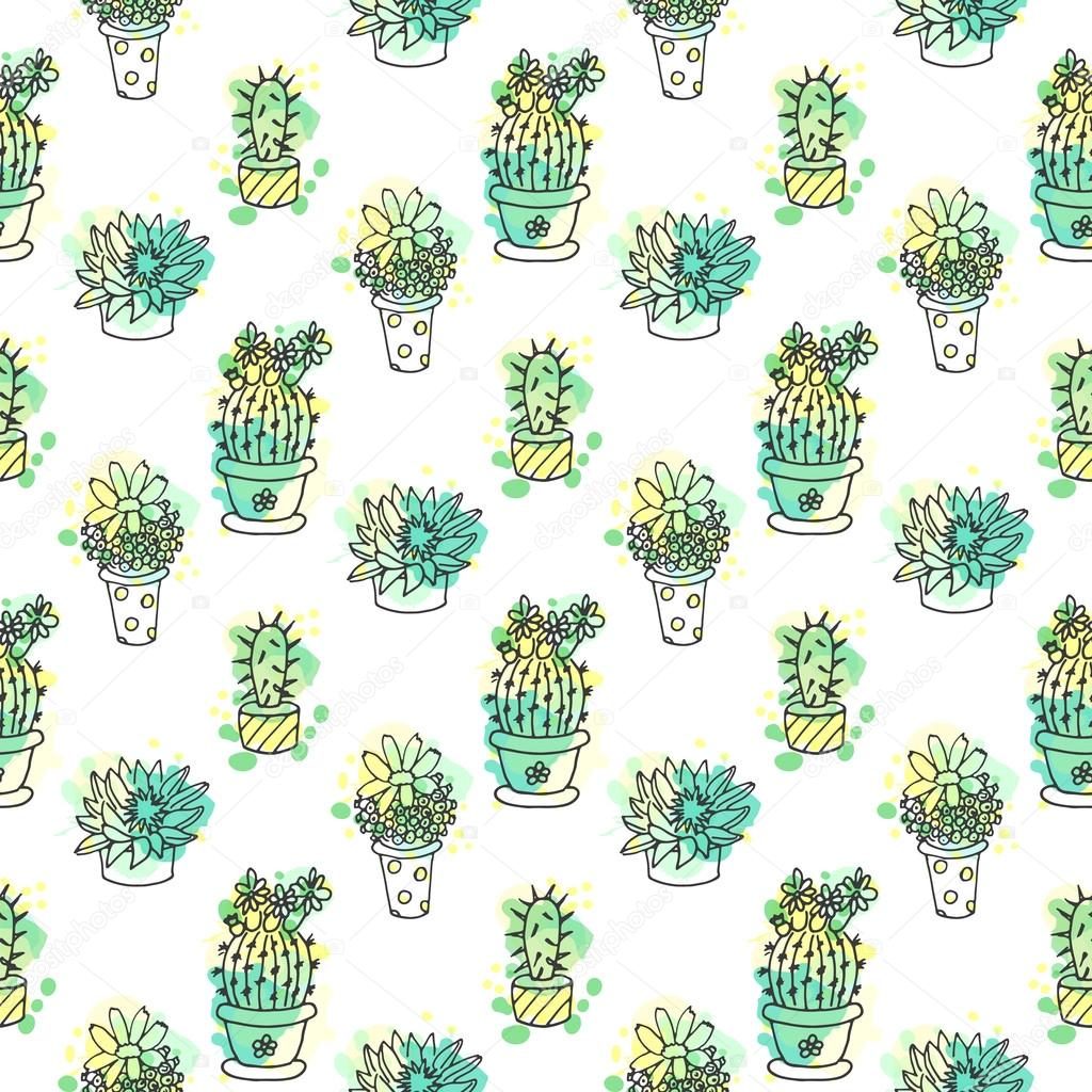 Seamless vector pattern with cactus. Colorful background with watercolor splashes and cacti. Succulent collection.