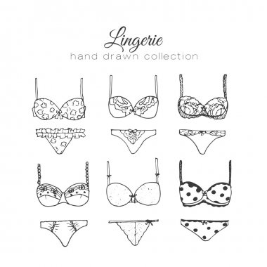 Vector lingerie set. Sexy underwear design. Outline hand drawn illustration. Bras and panties doodle.