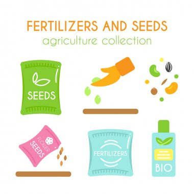 Vector fertilizer illustrations. Seeds pack design. Bottle of bio fertilizers. Flat argiculture collection.