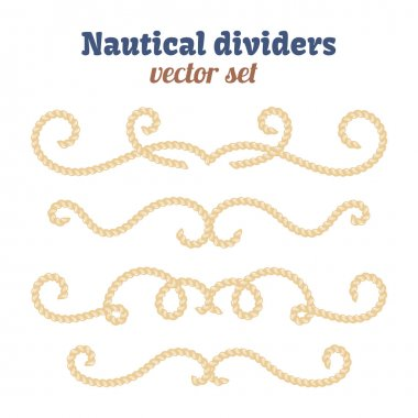 Nautical ropes. Dividers set. Decorative vector knots. Ornamental decor elements with rope.