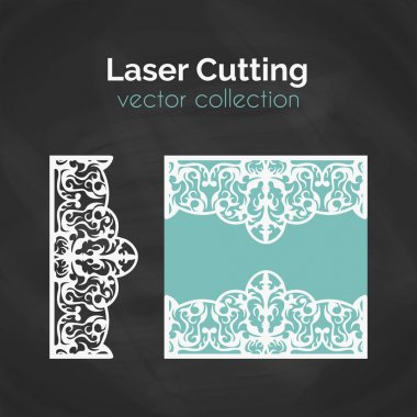 Laser Cut Card. Template For Laser Cutting. Cutout Illustration With Abstract Decoration. Die Cut Wedding Invitation Card.