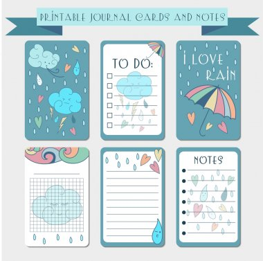 Printable notes, journal cards, labels, memo with hand drawn clo