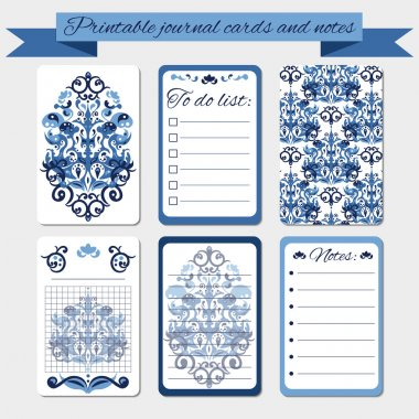 Printable notes, journal cards, labels, with blue damask ornaments.