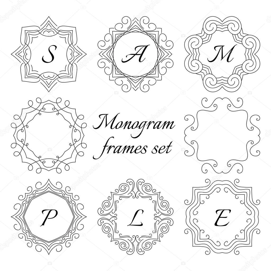 8 marcos de monograma. Juego de estilo retro. Adornos hechos a mano ...