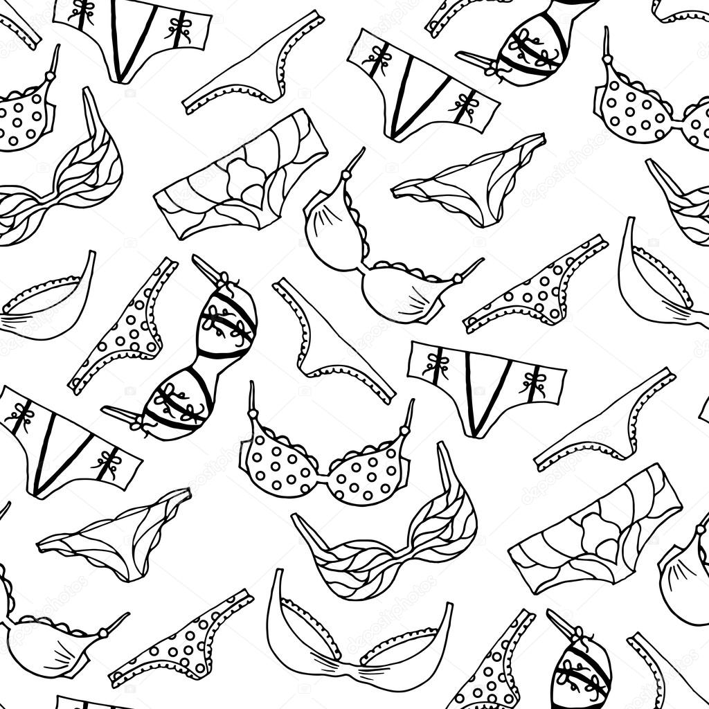 6d565e9146 Lingerie seamless pattern. Vector underwear wallpaper design. Outline hand  drawn illustration. Bras and panties doodle. Fashion paking background.