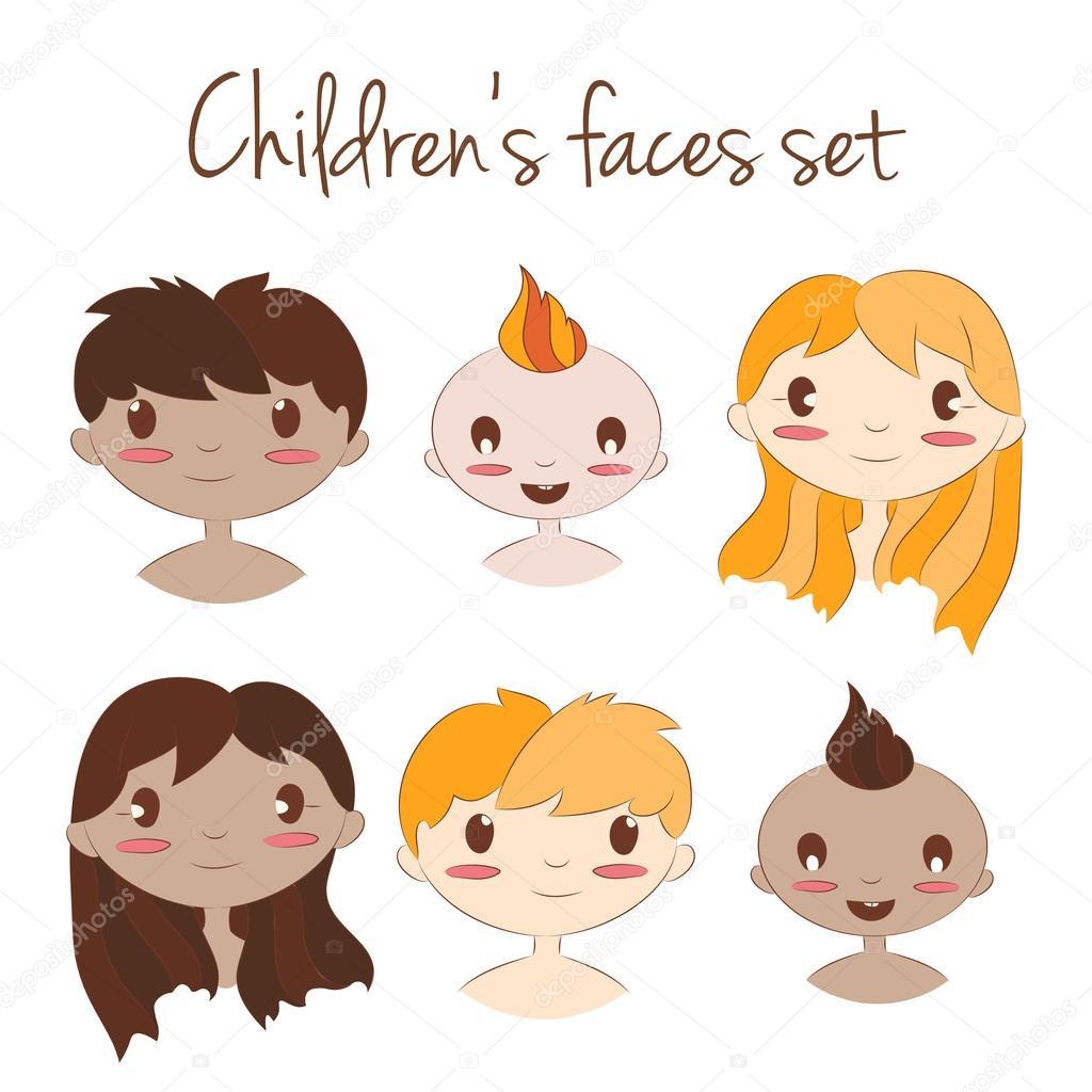 ベクター幸せな子供の顔のイラストです。かわいい漫画こども文字セット