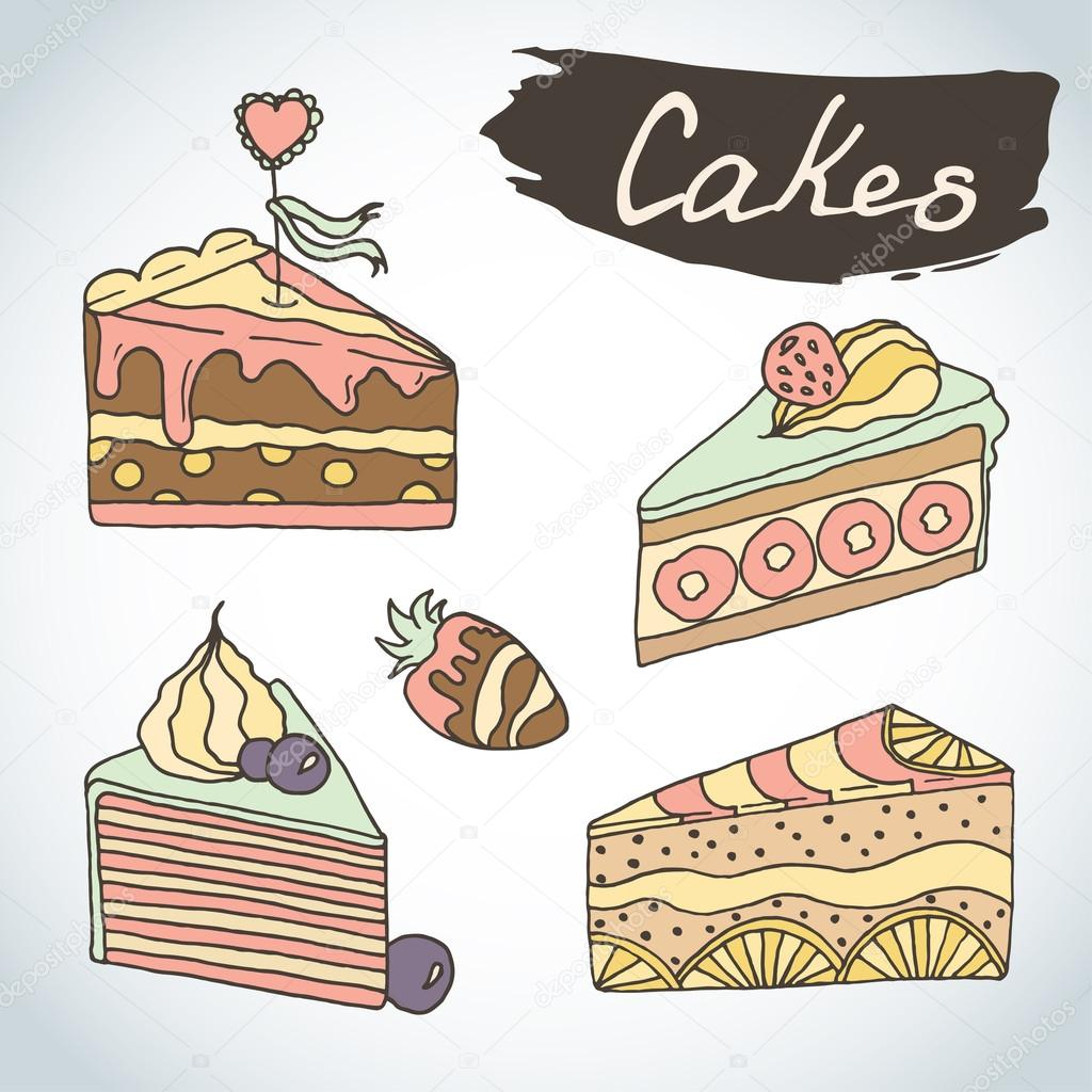 Hand Drawn Sweet Cakes Set Bakery Vector Elements Sketch Excellent
