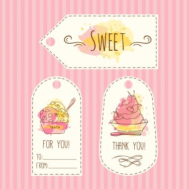 Tags with ice cream illustration. Vector hand drawn labels set with watercolor splashes.