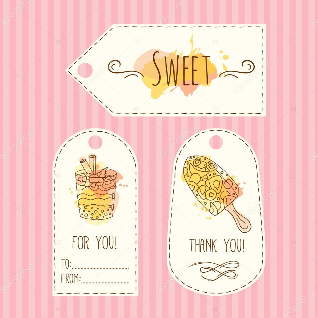 Tags with ice cream illustration. Vector hand drawn labels set with ...