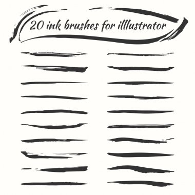Vector ink brushes set. Grunge brush strokes collection for illustrator.