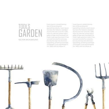 Watercolor garden tools set.
