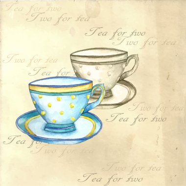 Watercolor tea cups.
