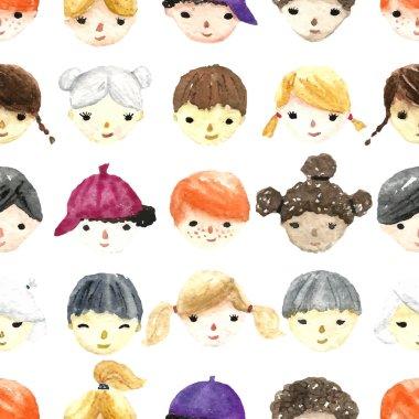 Watercolor children faces.