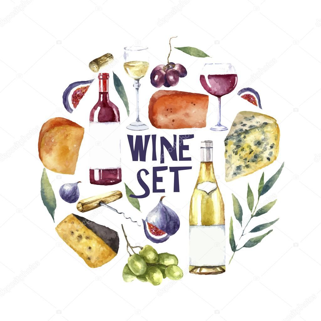 Watercolor wine set. Round card background.