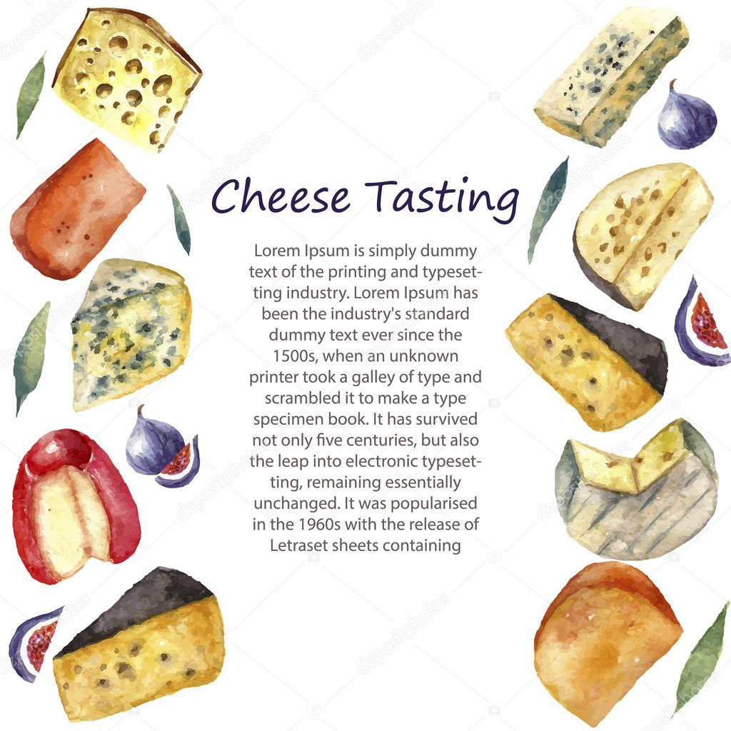 Watercolor cheese set with place for text.