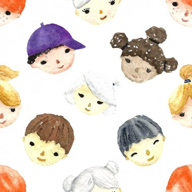 Watercolor children faces.
