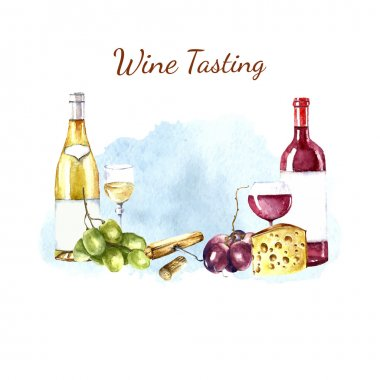 Watercolor wine design elements.