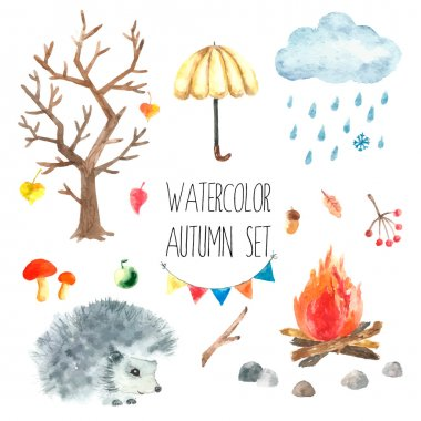 Watercolor autumn set.