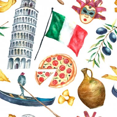 Seamless pattern of Italy icons watercolor illustration.