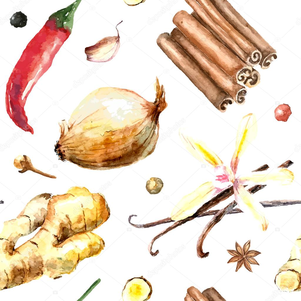Watercolor seamless pattern of fresh spices isolated.