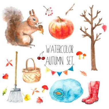 Watercolor autumn set.