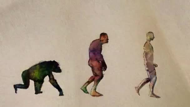 Human Evolution Main Stages Timeline Painting Style Seamless Loop