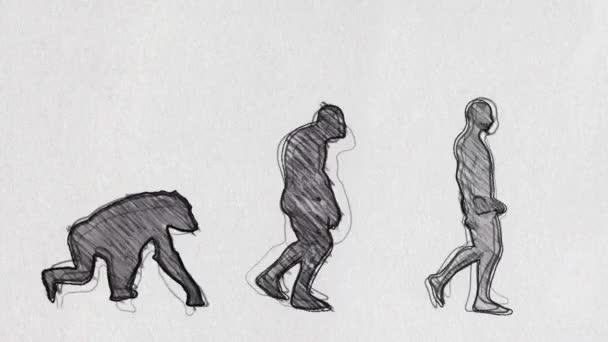 Evolution Timeline Walking in Pencil Sketch Seamless Loop