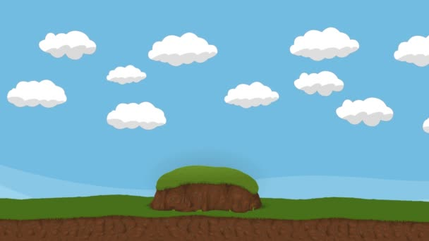 Animated Cartoon Cloudy Sky and a hills