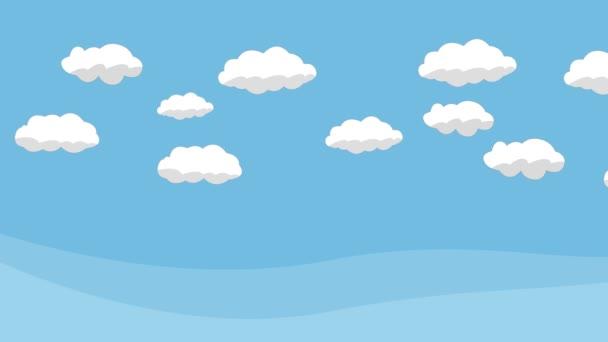 Animációs film kék ég, fehér felhők