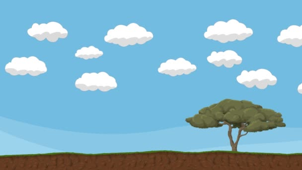 Animated Cartoon Cloudy Sky with Tree and Ground