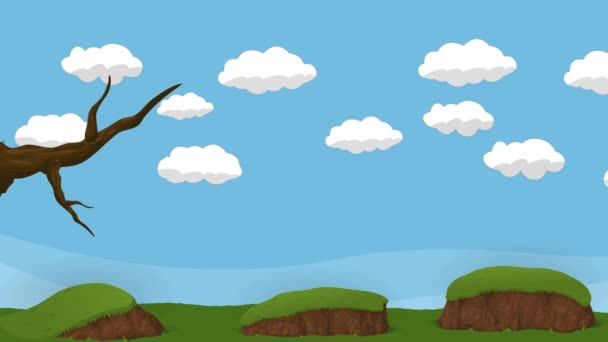 Animated Cartoon Cloudy Sky with Tree and Ground and hills