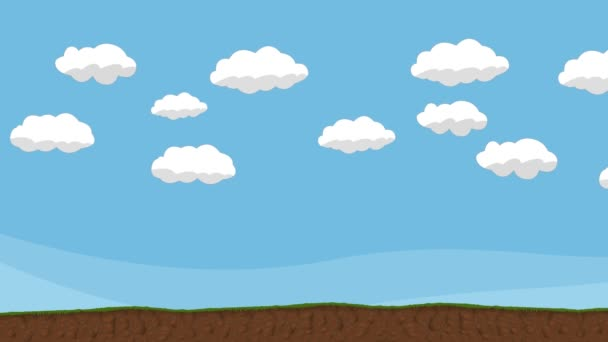 Animated Cartoon Cloudy Sky and Ground