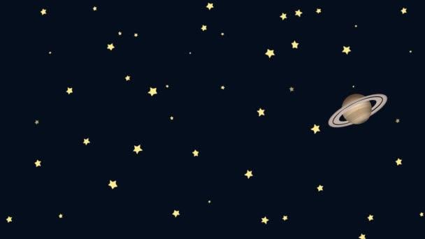 Rajzfilm félhold és a Szaturnusz a csillagos éjszaka