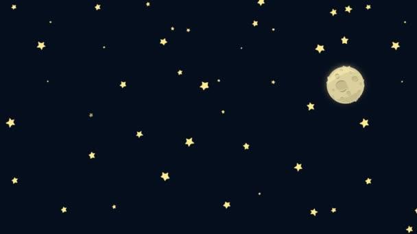 Kreslený země a měsíc z vesmíru s Hvězdné noci