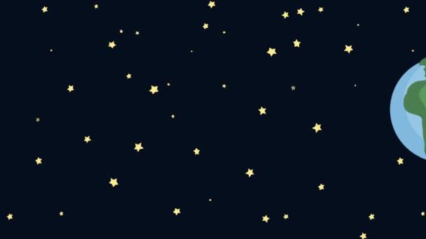 Rajzfilm föld az űrből a Starry Night