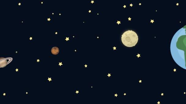 Kreslený země Saturn Mars a měsíc