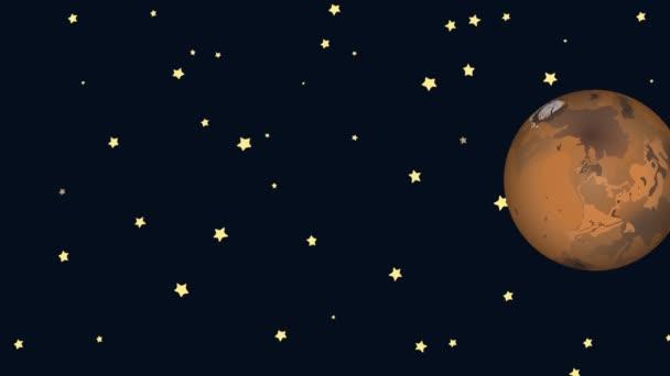 Kreslený Mars a Saturn na hvězdné noci