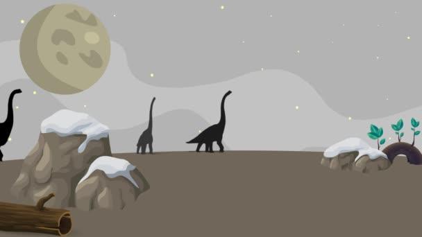 4k Zeichentrickanimation von Dinosauriern, die nachts laufen