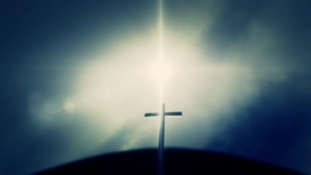Fából készült kereszt fekete ki a nap a Jézus Golgota Kálvária