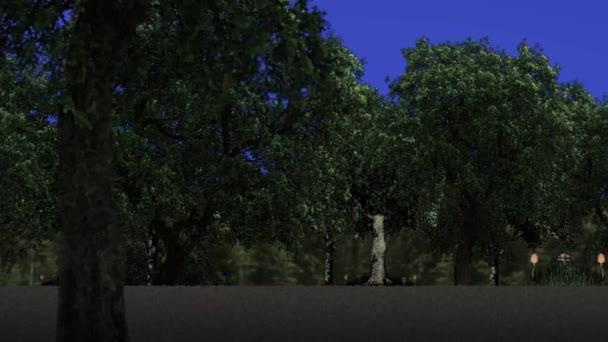 Procházky v lese na pozadí modré obrazovky