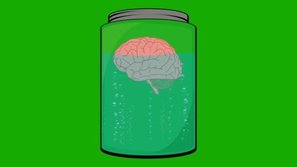 Cartoon Animation of a Brain Floating in a Jar