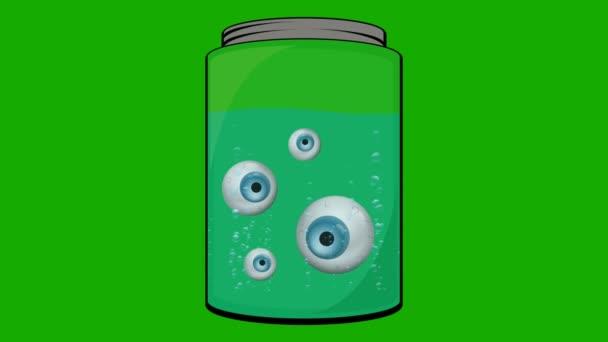Cartoon Animation of Few Eyeballs Floating in a Jar