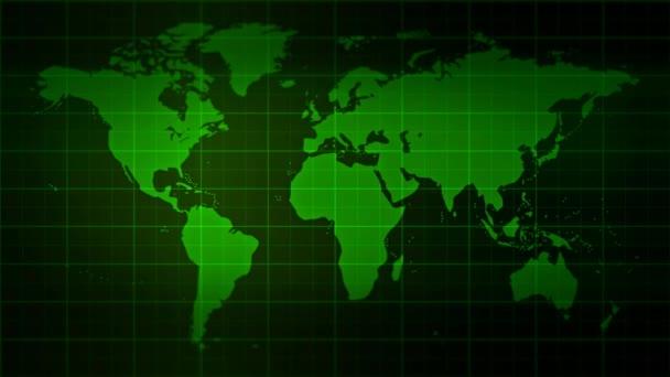 Prázdný Monitor s pozadím mapa světa